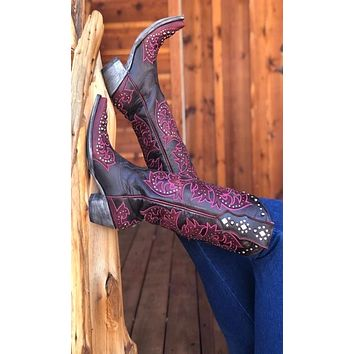 Old Gringo Ilona Tall Boots~ Chocolate w/Red and Hot Pink Stitching
