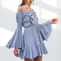 Sky Blue Embroidery Off Shoulder Flared Sleeve Flowy Romper