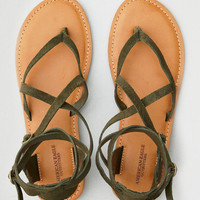 AEO Suede Ankle Wrap Thong Sandal, Olive