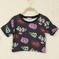 Black English Letters Print Short Sleeve Graphic Cropped Tee