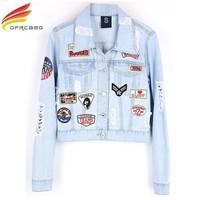 Trendy New 2018 Women Patch Designs Pockets Denim Jackets Casual Single Breasted Hole Jean Jacket Woman Basic Coats Women Tops Jacket AT_94_13