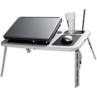 Folding Laptop Table Sturdy Portable Lap Desk w Cooling Fans Tablet Bed Tray