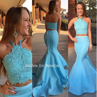 Sky Blue 2 Piece Mermaid Prom Dresses 2017 Halter Sexy Backless Lace Long Party Evening Gown Arabic Women Dress Vestido De Festa