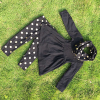In stock -Black Top with Gold Dot leggings and Scarf set