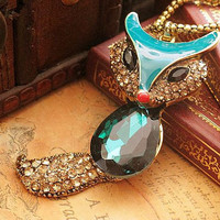 Vintage Retro Style Gem FOX Pendant Chain Necklace , Crystal Diamond Studded Metal Personalized Necklace , Jewelry Necklace Chain