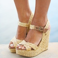 Natural Rafia Wedges