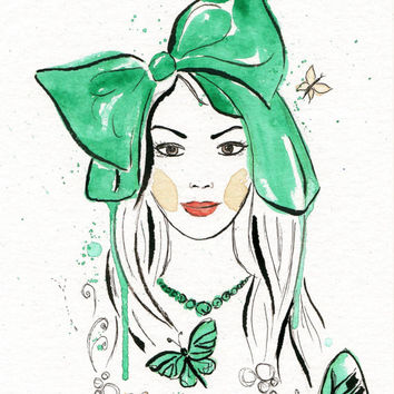 Original watercolor painting Green Bow Haired Girl with butterflies and flowers