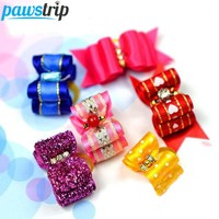 5pcs Bling Hair Bow Clips Princess Dog Hairpin Pet Grooming Accessories For Small Dogs 3.5 x 2.0cm