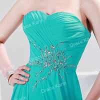 NEW Party Evening Bridesmaid Cocktail Chiffon Long Dress Gown Prom Formal Green
