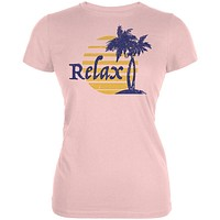 Summer Sun Relax Palm Tree Juniors Soft T Shirt