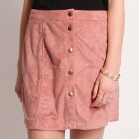 Fall Harvest Suede Skirt In Dusty Rose