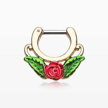 Golden Rose Blossom Icon Septum Clicker