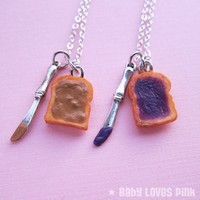 Mini Peanut Butter and Jelly Knife Best Friend Couples Necklaces - Set of 2 - Peanut Butter & Grape Jelly