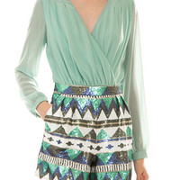 Mint Green and Sequined Shorts Romper