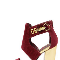 C Label Alix 1A Burgundy and Gold Cutout Booties
