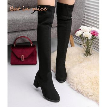 Women Casual Over the Knee boots shoes Winter women Female Round Toe Platform high heels pumps Warm Snow Boots shoes mujer W391