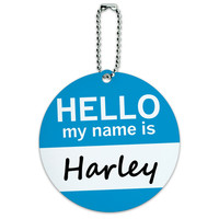 Harley Hello My Name Is Round ID Card Luggage Tag