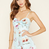 Tie-Front Floral Cami Romper