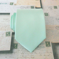 Mens Tie. Dusty Mint. Dusty Shale Green Mens Necktie JCrew Inspired With Matching Pocket Square Option