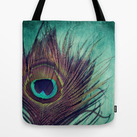 Peacock Feather Tote Bag by KunstFabrik_StaticMovement Manu Jobst