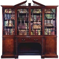 George III Chippendale period mahogany breakfront bookcase