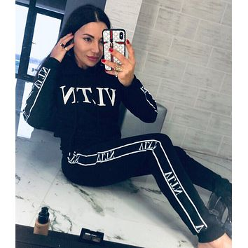 Valentino VLTN Casual Print Hoodie Top Sweater Pants Trousers Set Two-piece black