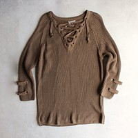 Lace Up Grommet Sweater in Olive