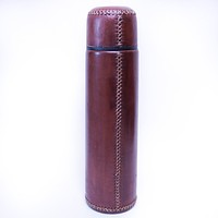 Leather Wrapped Stainless Steel Thermos (Brown)