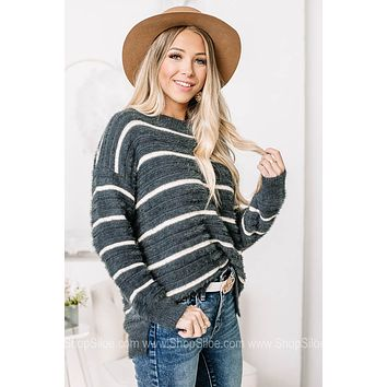On Down The Line Fuzzy Striped Sweater