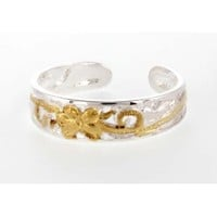 Sterling Silver Two Tone Flower Toe Ring