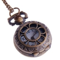 Ladies Pocket Watch Pendant Necklace Small Face White Dial Neo Vintage Steampunk Flower-Web Design PW-57