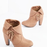 Taupe Laced Tassel Heeled Bootie | Booties | rue21