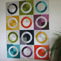 Modern Quilt, Art Quilt, Lap Quilt, Rainbow Circle Quilt, Abstract Quilt