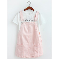 Simple Candy Color Suspender Skirt