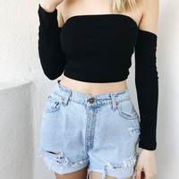 LIZA OFF SHOULDER TOP- BLK