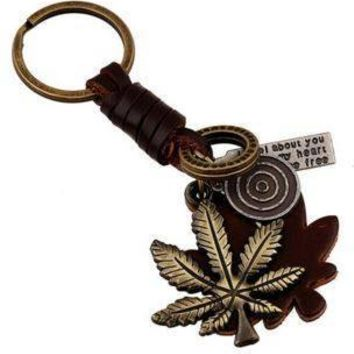 Genuine Leather Black and Brown Leaf Keychain
