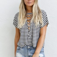All Out Heather Grey & Charcoal Striped Crop Top