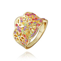 Gold Plated Rainbow Jewels Covering Tiara Hollow Ring