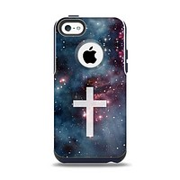 The Vector White Cross v2 over Bright Pink Nebula Space Apple iPhone 5c Otterbox Commuter Case Skin Set