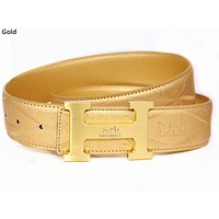 Hermes 2019 new classic H letter buckle embossed logo belt gold