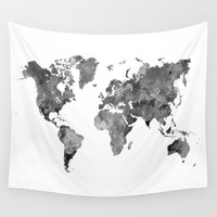 World map in watercolor gray Wall Tapestry by Paulrommer