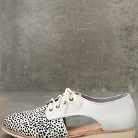 Rollie Sidecut White Snow Leopard Leather and Pony Fur Oxfords