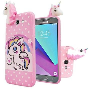 SAMSUNG J7(2017) J7 PERX J7 Prime Galaxy Halo 3D Character Unicorn Silicone Skin Case for AT&T/Boost Mobile/Cricket/MetroPCS/T-Mobile/Sprint/Virgin Mobile/US Cellular/Verizon - POLKA DOT