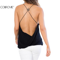 Women Sexy Cami Tops Summer Style 2016 New Arrival Chiffon Ladies Casual Top Black V Neck Crisscross Open Back Camisole
