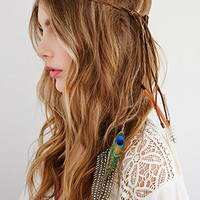Faux Suede and Velvet Feather Headband