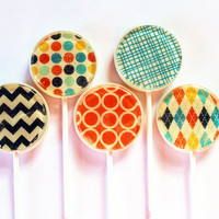 """Retro fashion edible images hard candy lollipops -  2"""" lollipops - 5 pc. - MADE TO ORDER"""