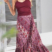Red Tribal Print Draped Ruffle Irregular High Waisted Flowy Bohemian Skirt