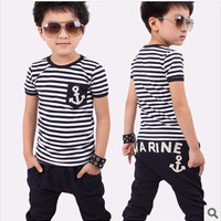 Cotton kids boy and girl summer suit striped t-shirt + marine design pants 2pcs clothing set 2colors