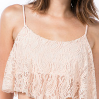 Draped Lace Cropped Cami Top