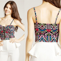 Colorful Tribal Bralet Crop Top With Front Zipper